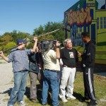 ESPN camera crew documents old Lincoln School mural