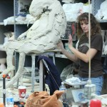 Beth Stichter working on a large scale Rabbit Sculpture at SIUE