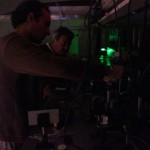 Dr. Hernando Garcia and Dr. Edgar Rueda setting up a high speed light source