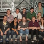 Tim Eaker, Kristina Cirone, Johanna Beck, Jacob Dicus, Kelly Ward, Wes Robinson, Ryan Wiechmann, Andrew Pearson, Brad Dillon, Judy Gasser, and Lana Hagan backstage at Newsies on Broadway