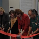 Ann Boyle, Lynn Curry, Julie Furst-Bowe, Gonz Jobe, and Aldemaro Romero Cutting the ribbon at the new art and design building expansion.