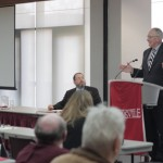 General Ervin Rokke speaking at SIUE