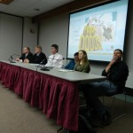 Professors from various departments came together for a panel discussion about evolution v. intelligent design for SIUE's first Darwin Day event, at which more than 100 staff, students and faculty attended. Photo courtesy of Craig Steiner