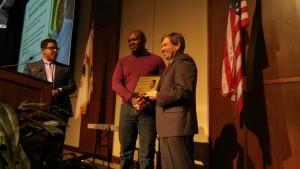 Dr. Musonda Kapatamoyo, Mass Communications professor, receives the Martin Luther King Jr. Faculty Humanitarian Award on Jan. 20. (Photo by Joseph Lacdan)