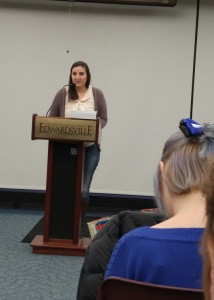 "Mass Communications major Olivia Williamson reads her literary piece ""My Heart Hungers"" at the annual River Bluff Review reading at the Morris University Center Jan. 25. (Photo by Joe Lacdan)"