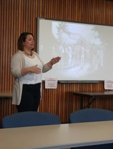 Historical Studies graduate student Samantha Thompson speaks during her presentation at Peck Hall April 8. (Photo by Joseph Lacdan)