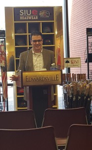 SIUE history professor Jeff Manuel speaks at his book signing event at the University bookstore in April. (Photo courtesy of Jeff Manuel)