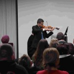 Violinist Rebin Ali at the Music from the Middle East workshop held at SIUE