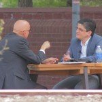 Carlos Zamora talking to Dean Romero