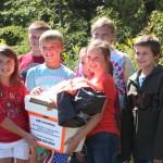 Columbus Elementary students retrieving weather balloon instrumentation