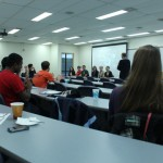 """A group of SIUE students discuss their film """"Bentley"""" with their class"""