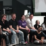 """Director Peter Cocuzza with the cast of """"Distracted"""" at SIUE"""